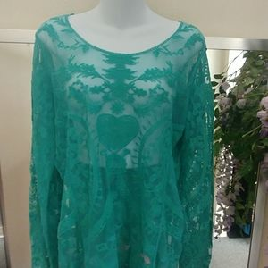 Cato Green Lace Embroidered Tunic Top